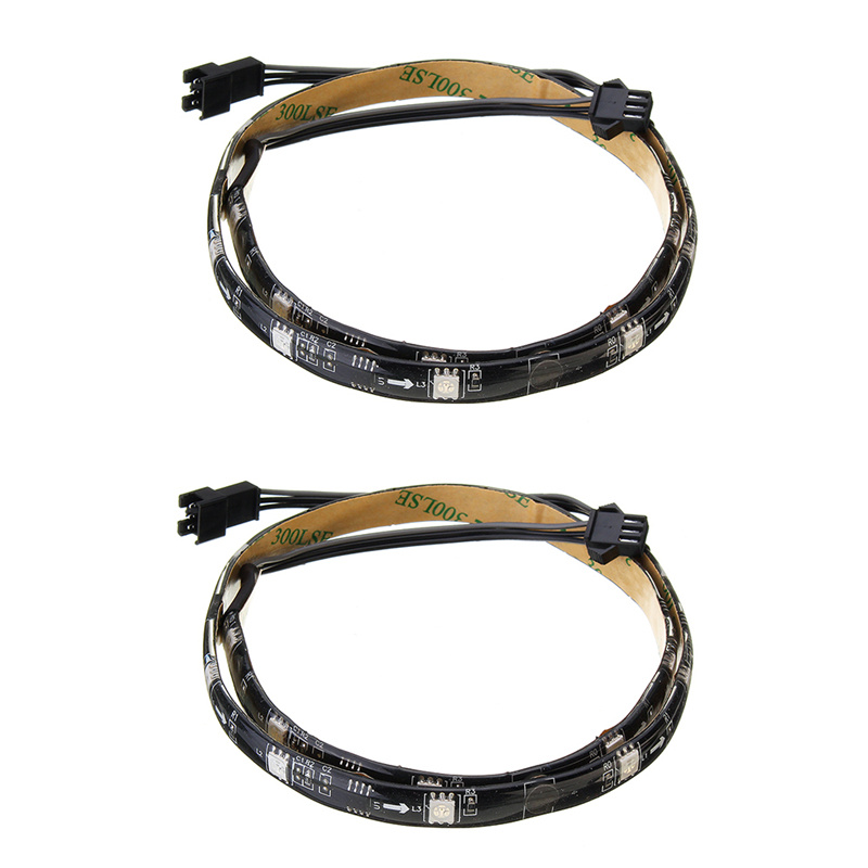 2Pcs DC12V 50CM 15LED RGB LED Strip Light Waterproof SMD5050 Led Magic Strip Computer Light