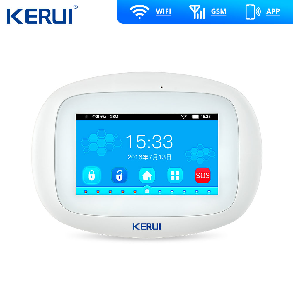 KERUI K52 4.3 Inch TFT Color Touch Screen Wireless Home Security Alarm WIFI GSM Alarm System APP Control
