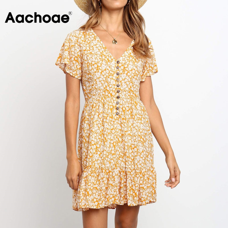 Aachoae Women Casual A Line Dresses 2020 Summer Floral Print V Neck Boho Beach Dress Ladies Short Sleeve Mini Dress Robe Femme