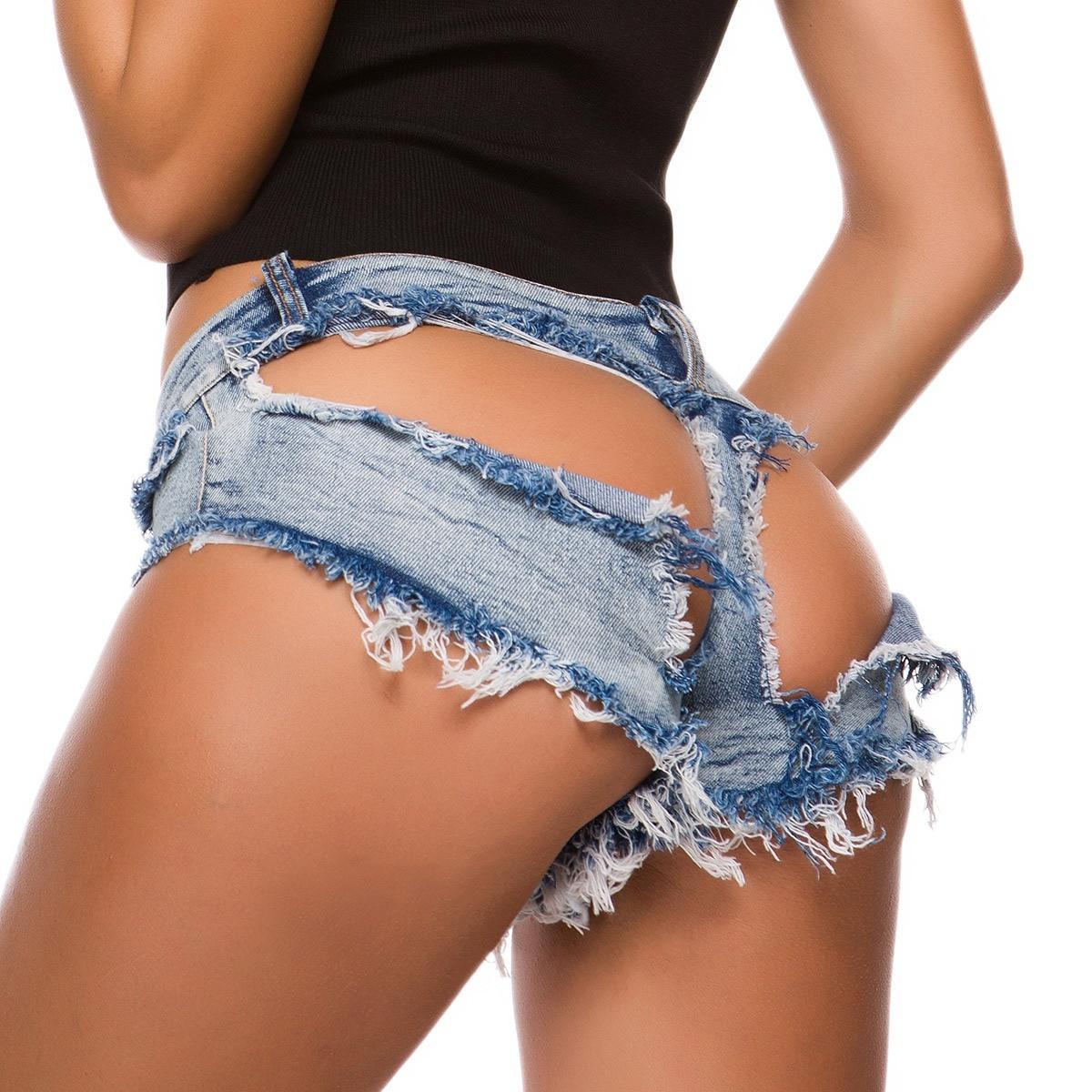 Ripped Women Sexy Jeans Shorts Summer Low-waist Denim Hollow Out  Mini Short Beach Baggy Shorts Club  DK087S30 Bikini Bottom