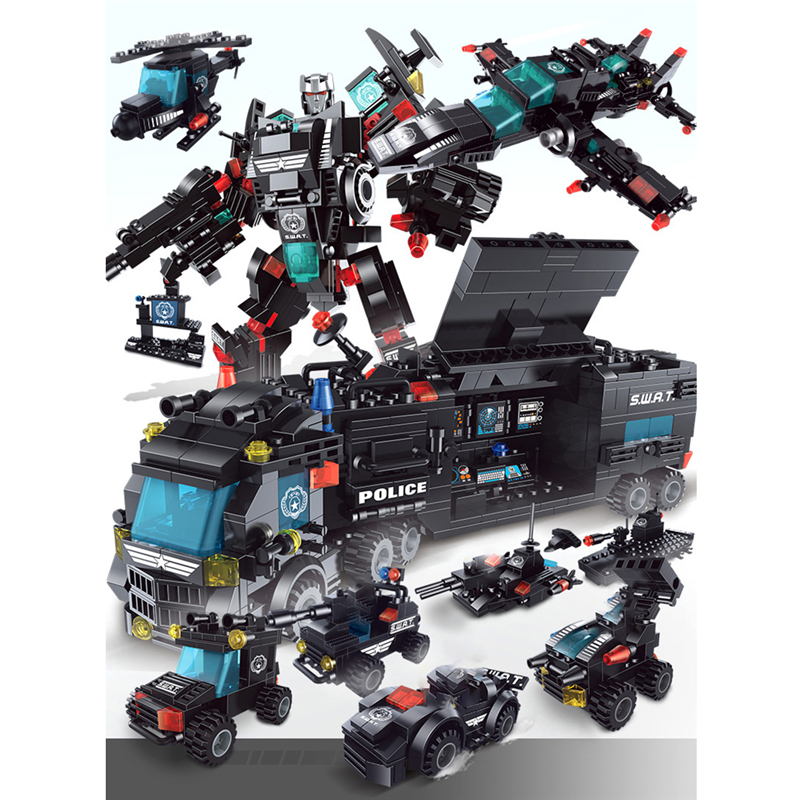 740+PCS Building Blocks 8 Mini Figures Robot City Police Toys Blocks Boys Educational Truck Blocks Model Bricks