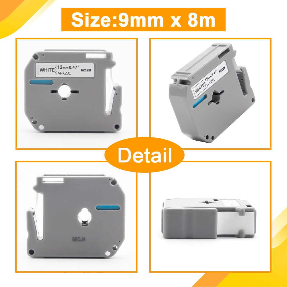 UniPlus 9Mm Label MakerสำหรับBrother P-Touch MK221 M-K221 MK-221 สีดำบนสีขาวฉลากสติกเกอร์ริบบิ้นPT-60 PT-90