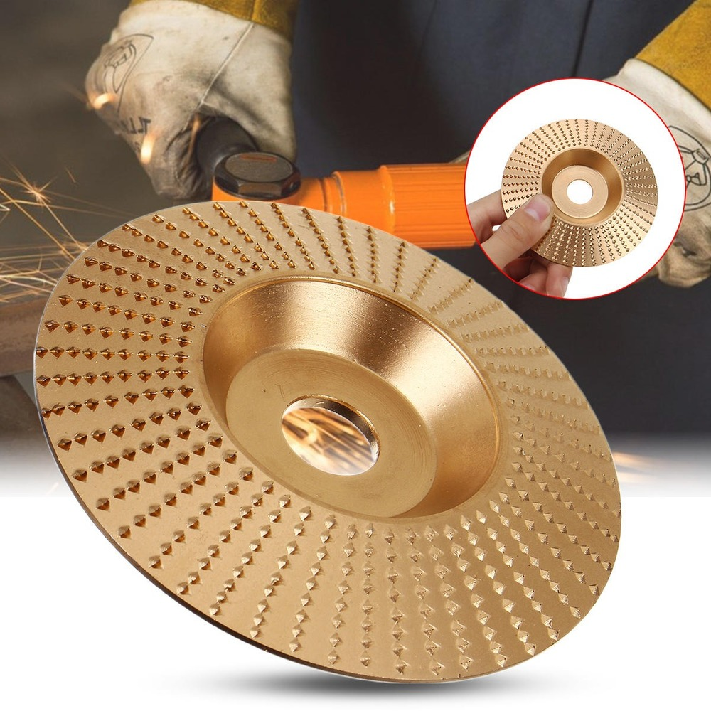 JUSTINLAU 100x16mm Golden Oblique Wood Grinding Wheel Rotary Disc Sanding Wood Carving Abrasive Disc Woodworking Tools