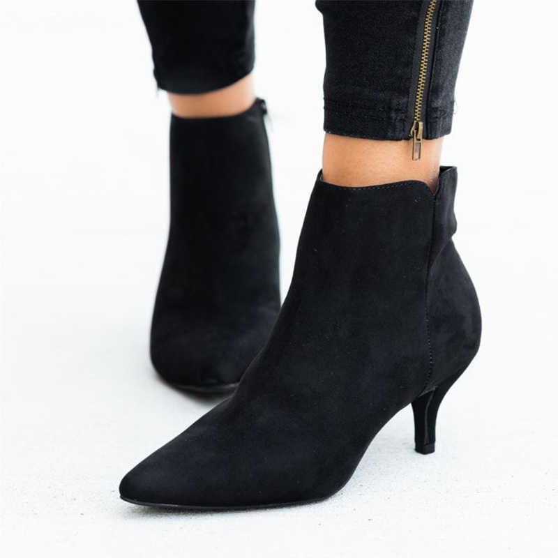 Sonbahar kadın Leopar Sivri Burun yarım çizmeler Kadın Zip Kadın Yılan Stilettos Artı Boyutu Bayanlar Süet kadın ayakkabısı Ince Topuklu