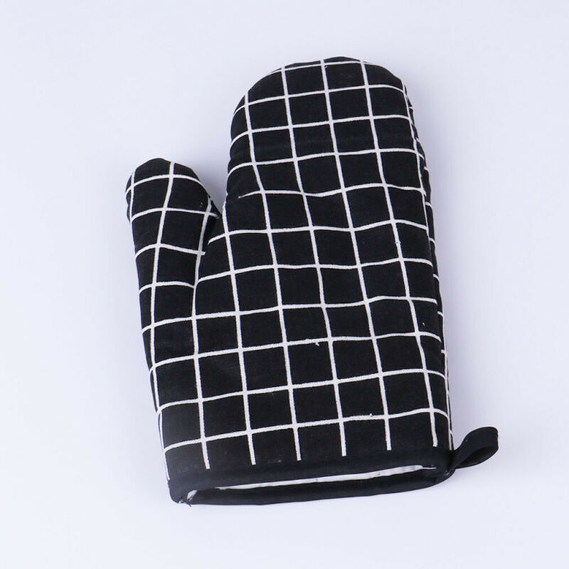 Single Oven Gloves 100/% Heat Resistant Cotton Oven Gauntlet Mitts Beige  Checked