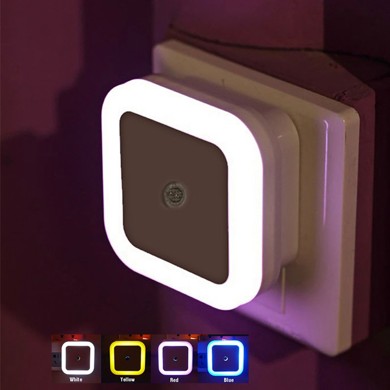 Wireless LED Night Light Mini Square Bedroom Lamp Light Sensor EU US Plug 110V 220V Nightlight Kids Baby Room Corridor Lamp