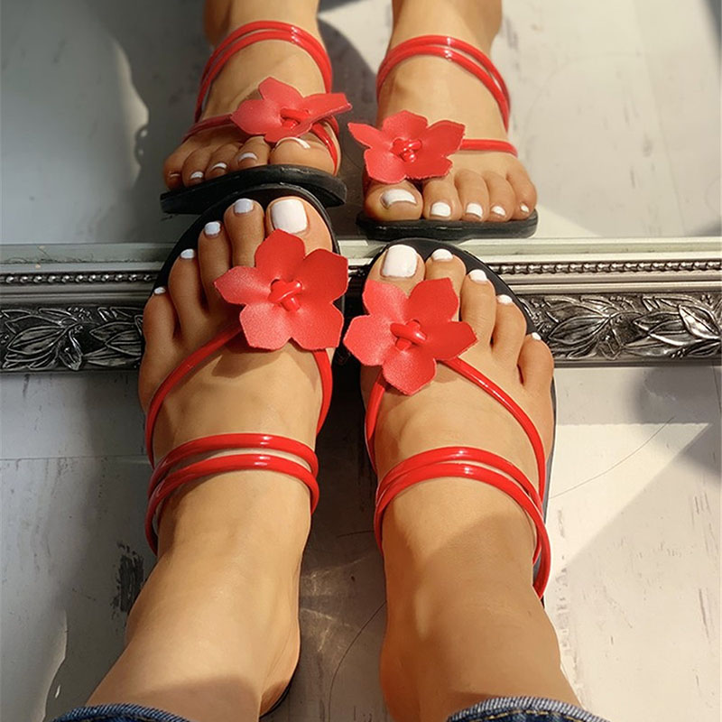 RizaBina Women Fashion Flat Bohemia Slide Sandals Toe Ring Summer Beach Shoes