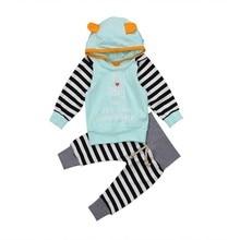 цена hilittlekids Toddler Kids Baby Girls Boys Hoodie Pant Set Stripe Fashion Comfy Kid Clothes Set онлайн в 2017 году