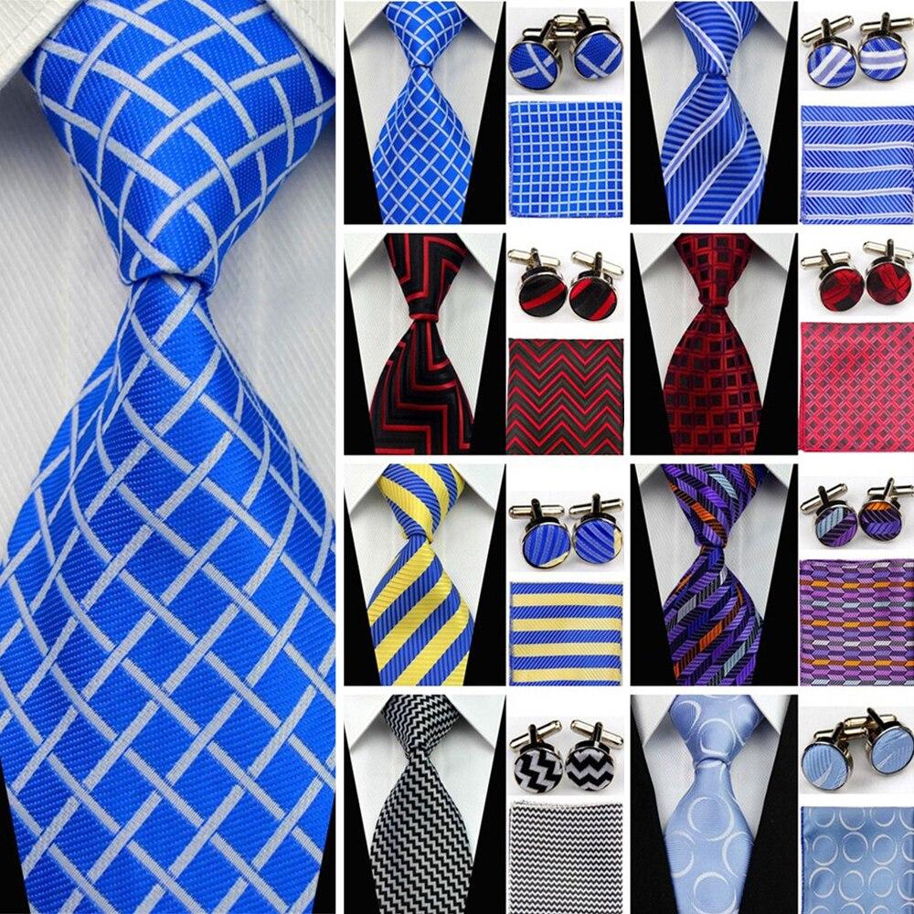 Men's Classic Silk Tie Set For Men Gravatas Striped Solid Neckties Business Black Wedding Suit Neck Ties Red White Blue