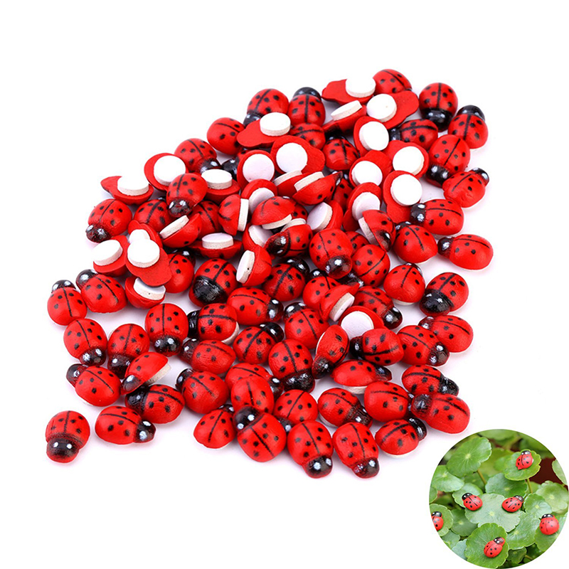 100pcs Ladybug Fairy Figurine Miniature Garden Ornament Dollhouse Decoration Home Office Decoration Drop Shipping