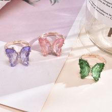 Novo estilo venda quente moda popular temperamento doce romântico transparente borboleta anel feminino jóias menina presente de casamento