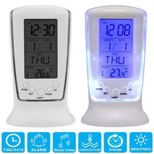 LED Digital LCD Alarm Clock Calendar Thermometer With Blue Backlight Desk Clock Multifunction Digital Clock Home Decoration new abs multi functions digital desk pen pencil holder display lcd alarm clock thermometer