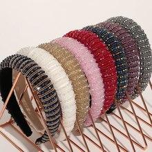 Luxury Bejeweled Padded Headbands Women 2020 New Korean Fashion Sponge Hairbands Novelty Rhinestones Head Hoop Hair Accessories