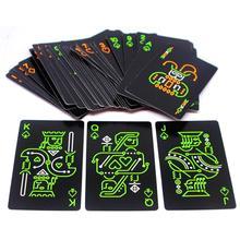 Черный светящийся флуоресцентный покер карты игральные карты светится в темноте бар вечерние KTV ночь светящаяся коллекция специальный покер