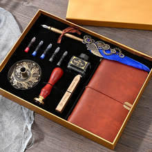 Creative Retro Feather Pen Set With Ink Bag Custom Ink Extraction Tube Pen Feather Notebook Fire Paint Seal Stationery Gift Box