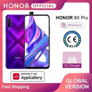 Перейти на Алиэкспресс и купить Глобальная версия Honor 9X Pro смартфон Kirin 810 7nm 6 ГБ 256 6,59 ''Full Экран 48MP тройной задней камер мобильных телефонов 4000 мАч