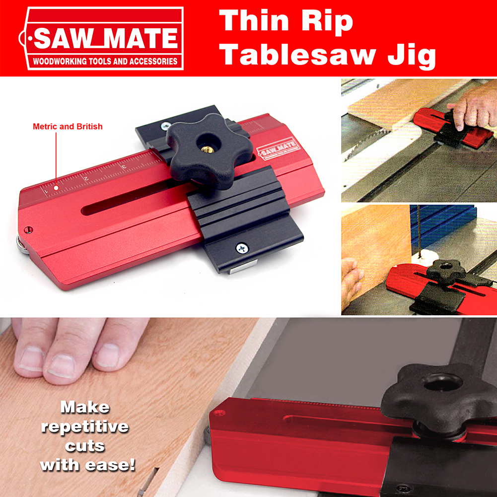 Cutting Locator Rip Jig Make Repetitive Narrow Strip CutsThin Wood Board  on Table Saw Works with Router Band Saws for Woodwork