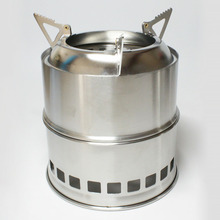Warmer Stainless Steel Picnic Camping Stove Gasifier Burner Portable Firewood Cooker Outdoor Cooking Tool Hiking Wood Burning