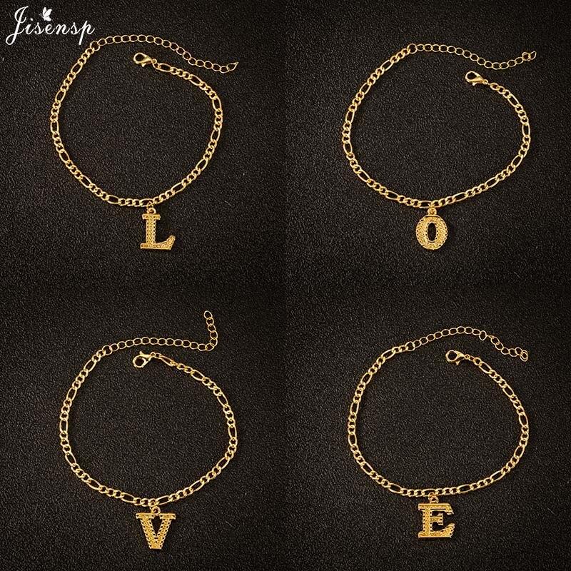 Jisensp Vintage A-Z Letters Anklet for Women Initial 26 Alphabet Charm Anklets Leg Bracelet Chain Gold Anklet Name Jewelry