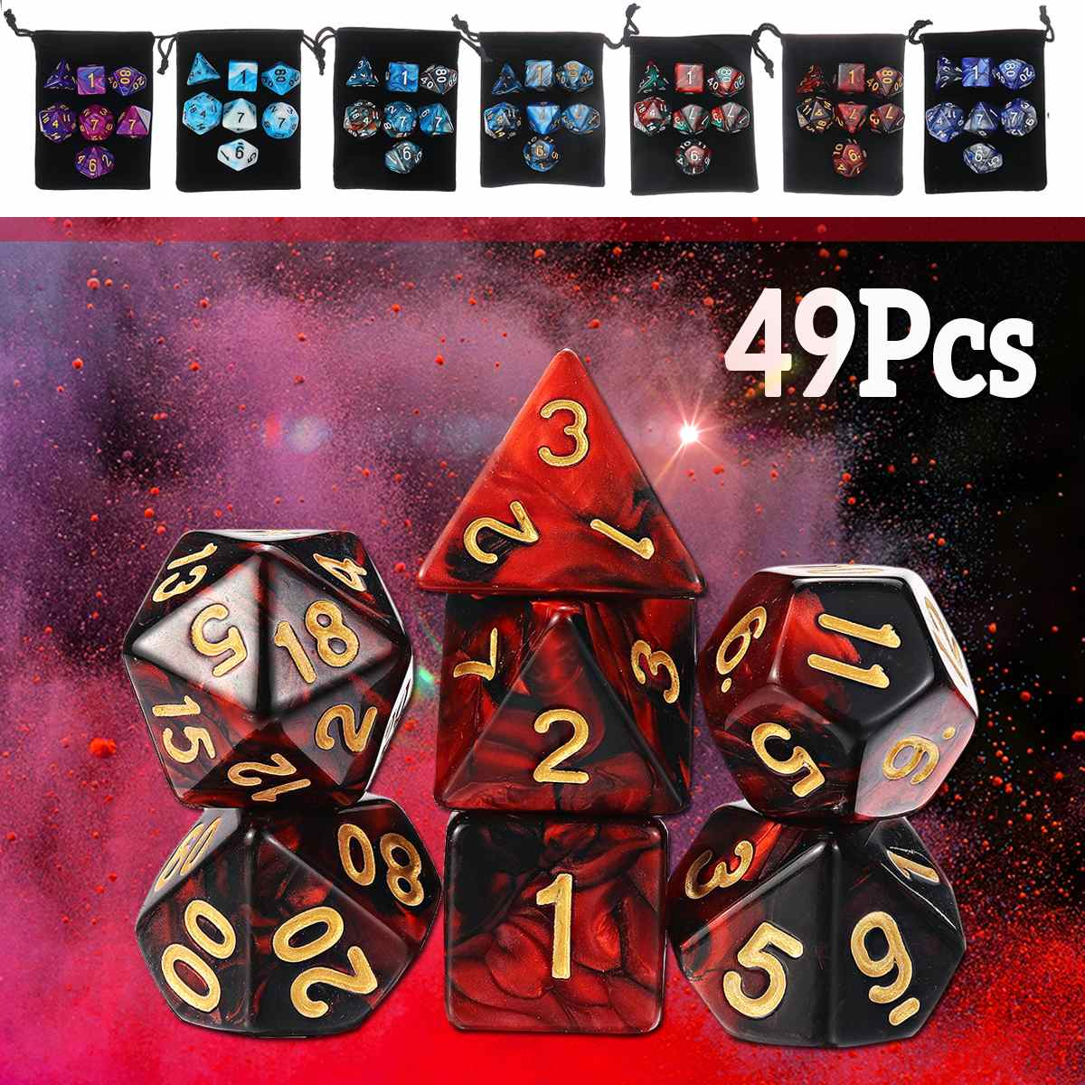 49PCS Polyhedral Dices Set Polyhedral Dices With Black Pouch Bags For Dungeons Dragons Games