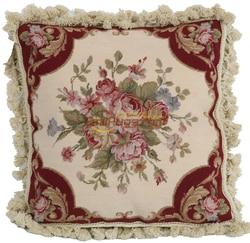 woolen needlepoint pillows Pillow Hand Made Decorative Cushion Pillows woolen Needlepoint Floral Roses aubusson Cushion