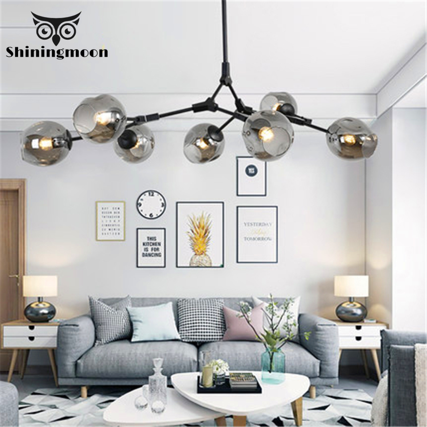 Nordic Gold Led Chandelier Lighting Modern Crystal Ball Glass Hanging Lamp Lustres Living Room Kitchen Decor Hanging Fixtures