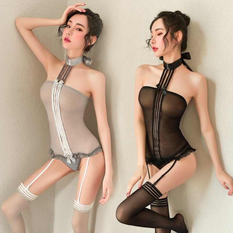 Sexy Garters Secretary Cosplay Set Teacher Maid Hollow Out Garter Stockings Uniform Female Halter Perspective Garter Costume