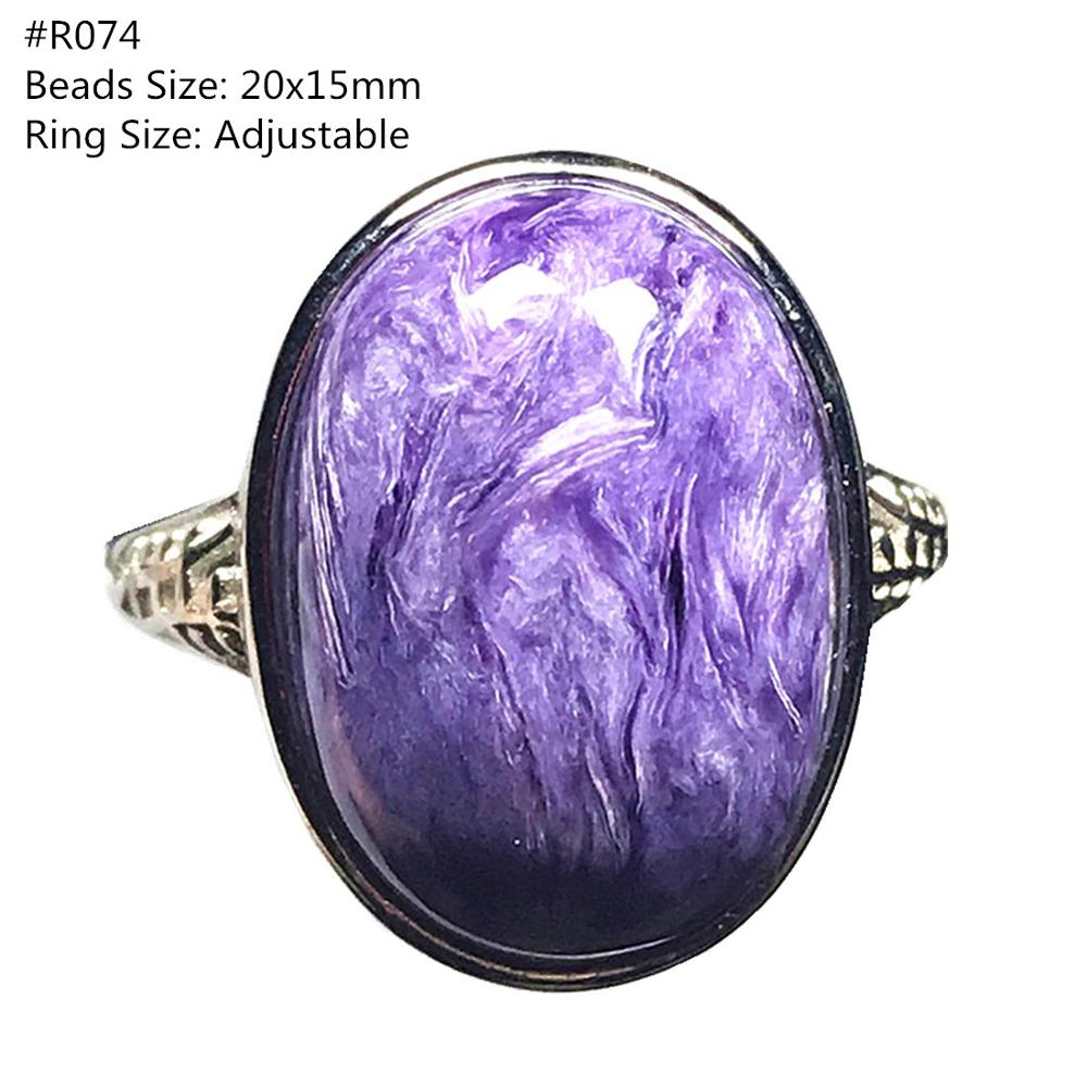 Top Natural Purple Charoite Ring Jewelry For Woman Lady Man Silver Crystal Oval Beads Lucky Gemstone Adjustable Size Ring AAAAA