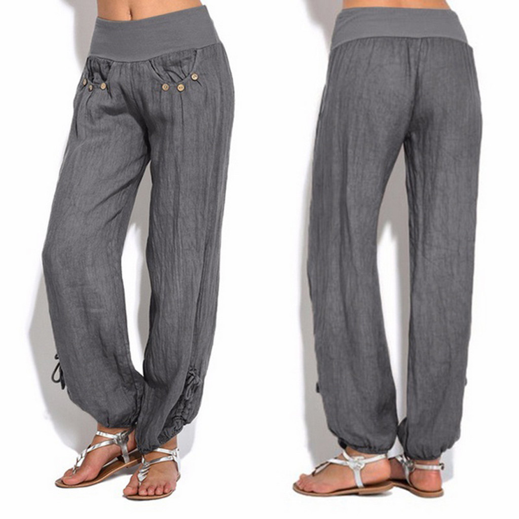 Fashion Women Solid Buttons Cotton And Linen Casual Loose Trouser Wide Leg Pants High Waist Joggers Pants Capris Good Fabric