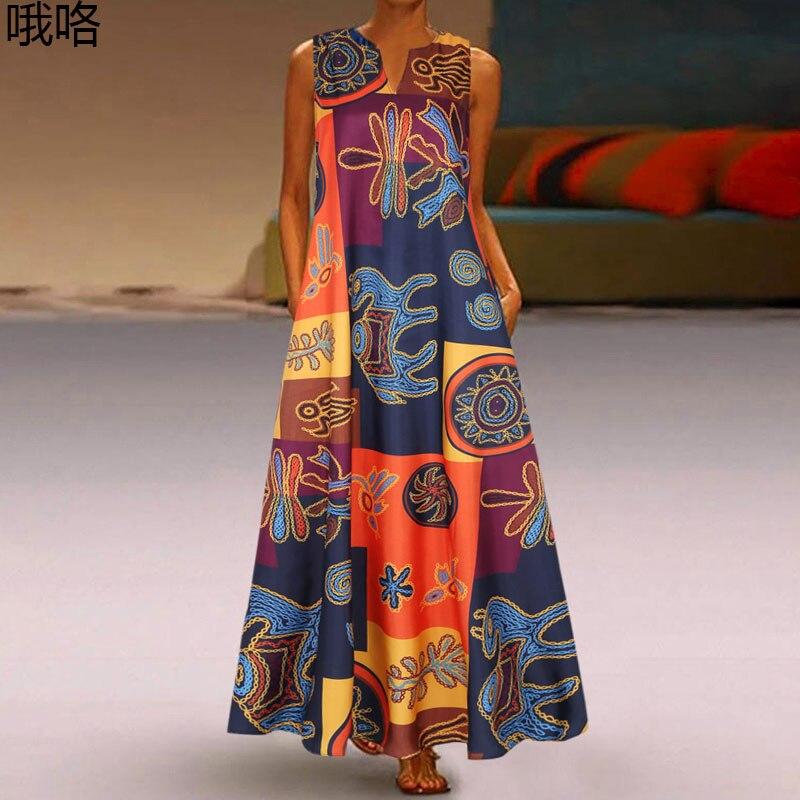 2020 Sundress Vintage Sleeveless Women Floral Printed Maxi Long Dress Summer Bohemian Casual Dress Robe Femme Party Vestido