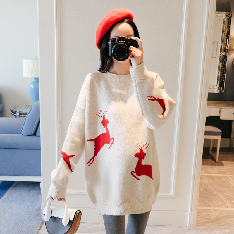6001# Christmas Deer Knitted Maternity Sweaters Autumn Winter Korean Fashion Pullover Clothes For Pregnant Women Loose Pregnancy