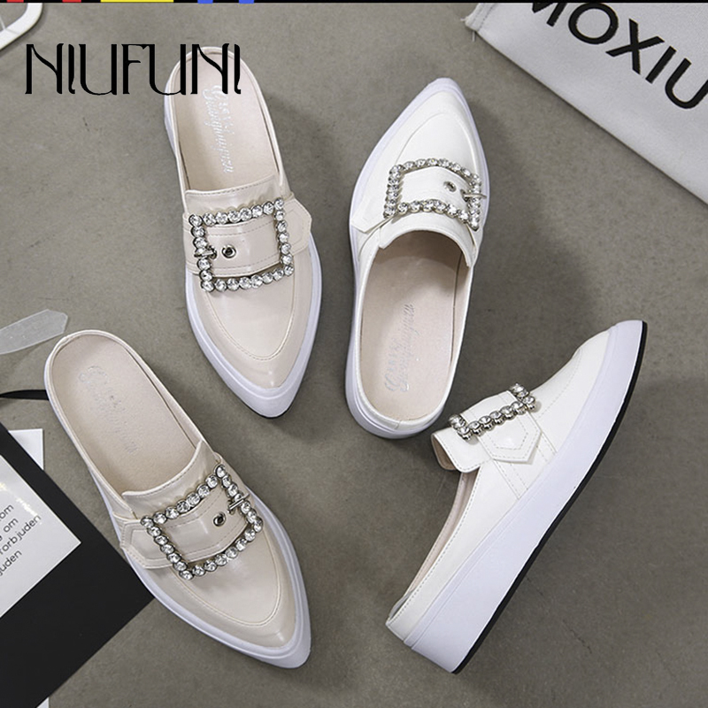 Pointed Rhinestone Wedges Women's Slippers Belt Buckle Shallow Low Heel Women's Sandals Slip On Shoes Casual Ladies PU Leather