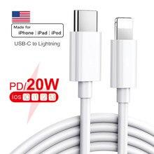 Original apple 20w pd usb tipo c cabo para apple iphone 12 11 pro xs max carregador de carregamento rápido para macbook ipad pro tipo-c usbc cabo de fio de dados