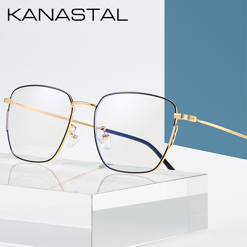 KANASTAL Prescription Glasses Men /Women Ultralight Square Myopia Prescription Eyeglasses Frame Metal Optical Eyewear K1901