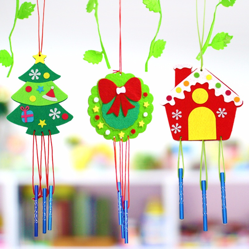 Children Christmas DIY Wind Chime Handmad Wind Bell Kid DIY Puzzle Toy Kids Manual Craft Toys Cartoon Tree Hanging Decoration