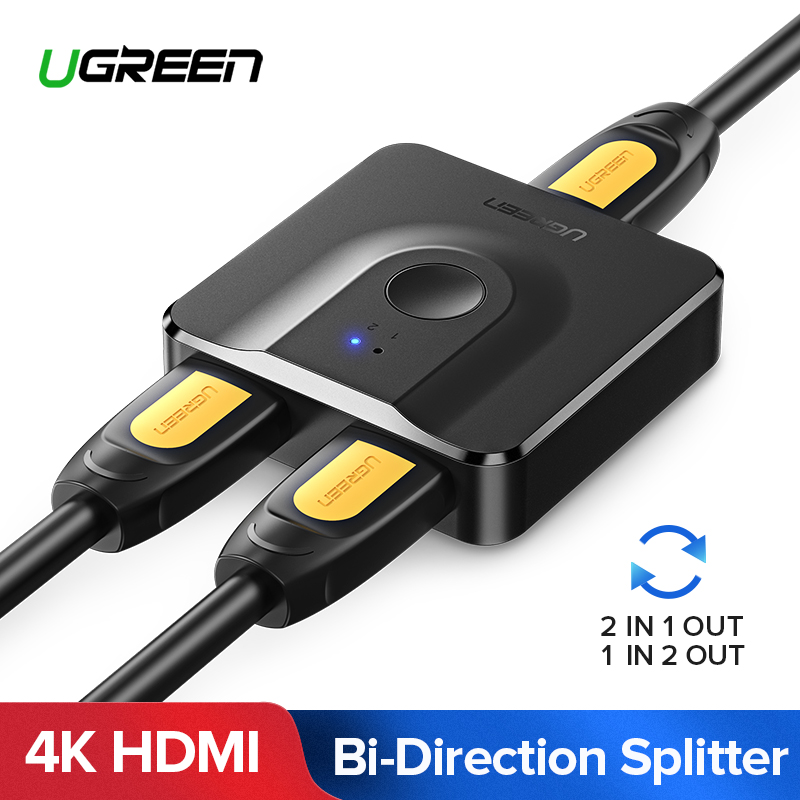 Ugreen HDMI Splitter 4K HDMI Switch Bi-Direction 1x2/2x1 Adapter HDMI Switcher 2 in 1 out for PS4/3 TV Box HDMI Switch