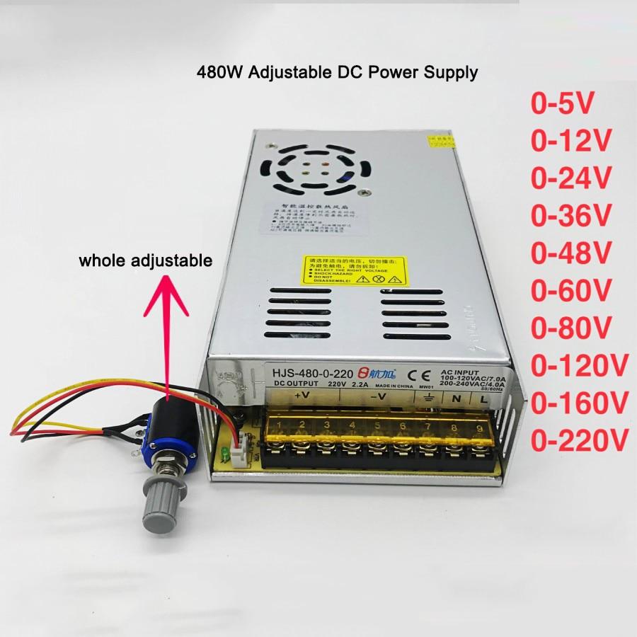 AC110V/220V to 0-5V 12V 24V 36V 48V 60V 80V 120V 160V 220V Adjustable DC Regulated Switching Power Supply Transformer Power Unit-0