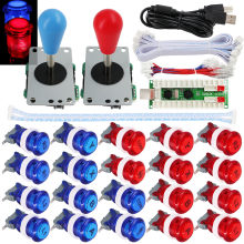 Gain SJ@JX 2 Player Arcade Game Stick DIY Kit Buttons Logo LED 8 Way Joystick USB Encoder Cable Controller for PC MAME Raspberry Pi saleoff