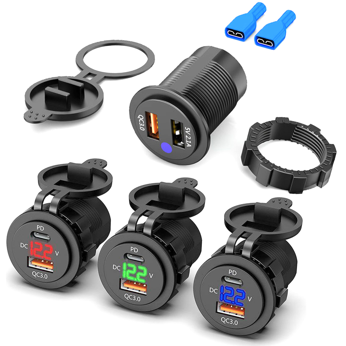 Waterproof 12V 24V Type C PD QC 3.0 USB <font><b>Car</b></font> <font><b>Charger</b></font> LED Voltmeter <font><b>Power</b></font> <font><b>Adapter</b></font> For Smart Phone Tablet Boat Motorcycle New image