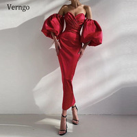Verngo Mermaid Evening Dresses Red Elegant Point Sleeves Formal Party Dress Gown Ankle Length Valentine's Day Gowns 2021