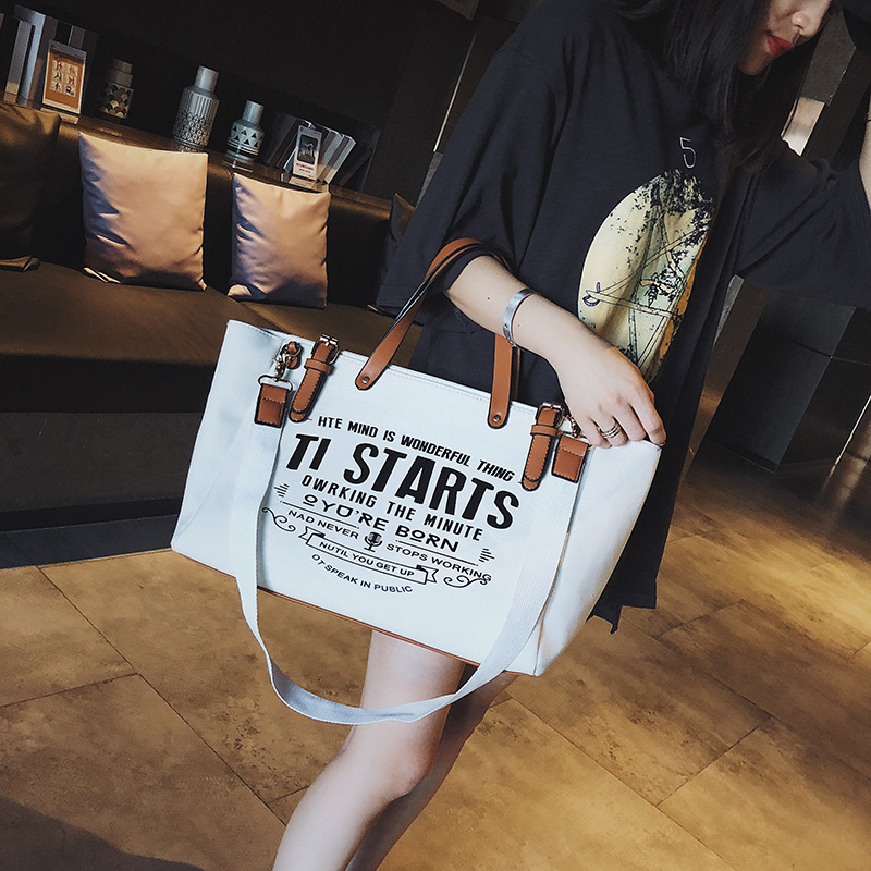 Office Bags For Women Fashion Large Capacity Handbag High Quality Canvas Shoulder Bag Multi-function Casual Briefcase Laptop Bag