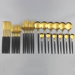 Luxury Dinnerware Tableware-Set Fork Spoon Stainless-Steel Finish Matte Gold Black 30pcs