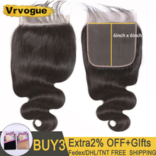 Vrvogue Hair 6x6 Lace Closure Indian Body Wave Closure Free/Middle/Three Part 8 22 Inch 100% Remy Human Hair Swiss Lace Closure