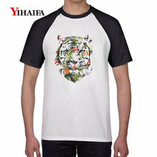 Summer Mens T Shirts 3D Floral Tiger Short Sleeve Tee Hip Hop Animal Graphic Tees Tops Casual Unisex T-shirt short sleeve floral graphic tee