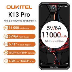 Мобильный телефон OUKITEL K13 Pro Android 9,0, 5 В/6A, 11000 мА/ч, Восьмиядерный, 6,41 дюйма, экран 19,5: 9, 4 Гб ОЗУ, 64 Гб ПЗУ, OTA, NFC, смартфон с функцией распознавания ...