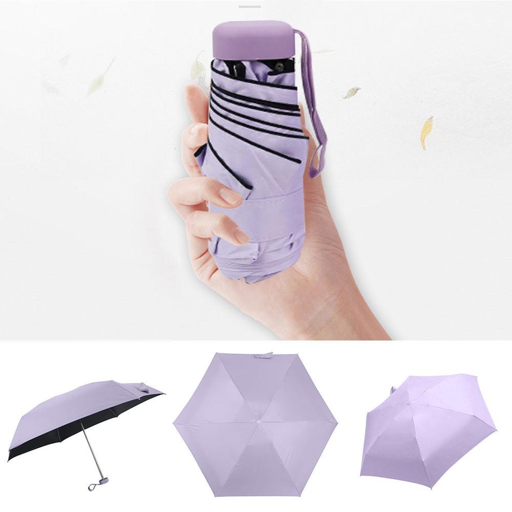 Мини-зонт, женский зонт, 5 раз, плоский светильник, Сумка с карманом и ультра-светильник, зонт, складной солнцезащитный зонтик, зонты Y1 - Цвет: PP