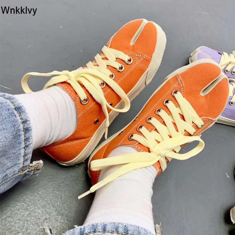 Spring Summer Split toe causal Shoes Woman canday color lace up shallow canvas pig trotter horseshoe flat shoes plus size