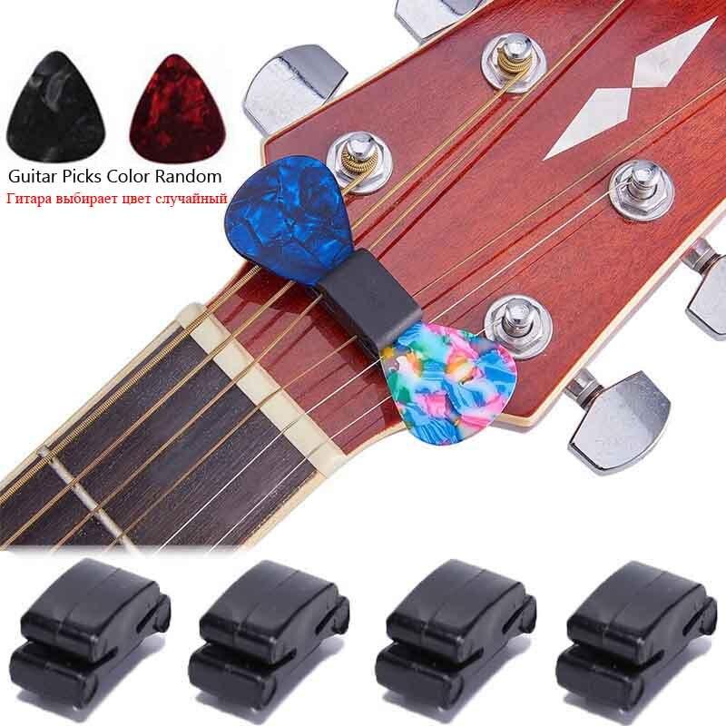 3Pcs/set 1pcs Rubber Pick Holder With 2Pcs Guitar Picks Black Rubber Guitar Pick Holder Fix On Headstock For Guitar Bass Ukulele