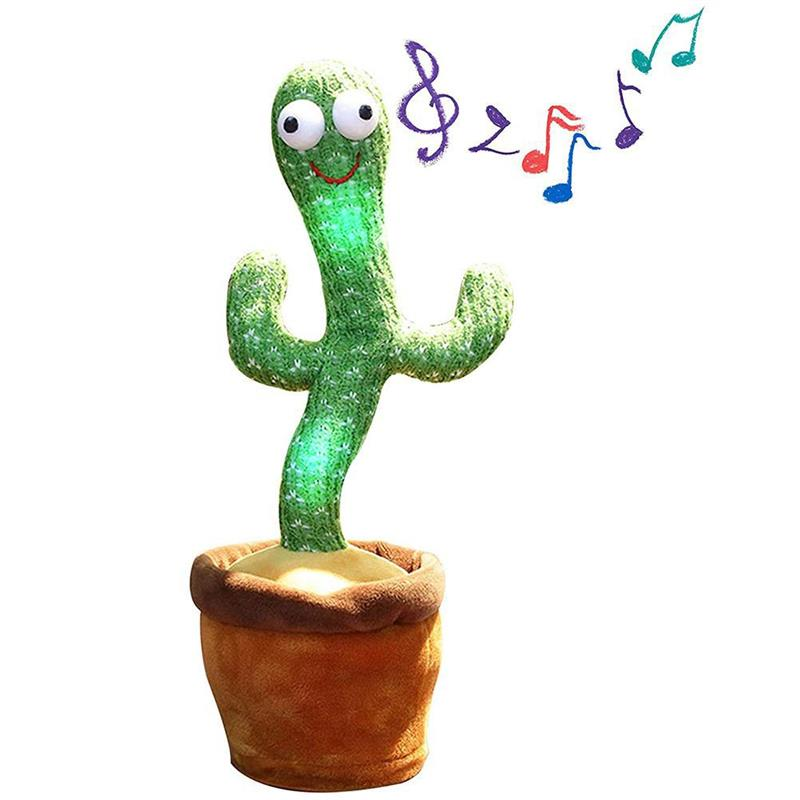 Plush Dancing Cactus Toy Electronic Shake Dance With Song Light Recording Bluetooth Speaker Childhood Education Toy Home Decor