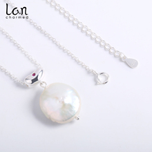 2019 New Design S925 Sterling Silver Necklace Natural Baroque Pearl Top For Women